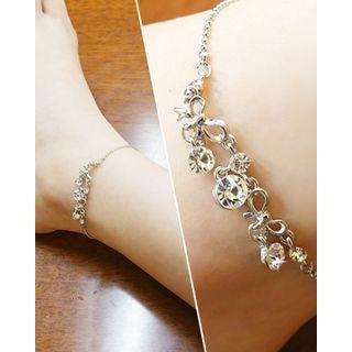 Rhinestone-ribbon Charm Chain Anklet