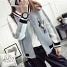 Bird Embroidered Zip Knit Jacket