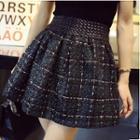 Plaid Mini A-line Tweed Skirt