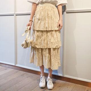 Crinkled Layered Maxi Skirt