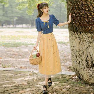 Set: Puff-sleeve Tie-waist Blouse + Dotted Mesh Overlay Midi A-line Skirt