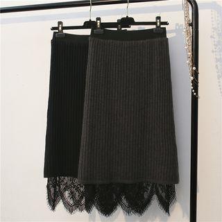 Lace Panel Knit Skirt