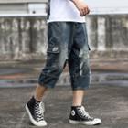Distressed Harem Denim Shorts