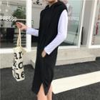Plain Long Sleeve T-shirt / Plain Sleeveless Hooded Dress