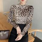 Mock Neck Long-sleeve Leopard Print Top