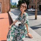 Floral Elbow-sleeve Maxi Chiffon Sun Dress