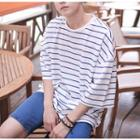 Elbow-sleeve Strippeded T-shirt