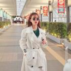 Cotton Long Trench Coat With Belt