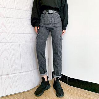 Straight-cut Cargo Jeans With Belt