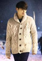 Shawl Collar Cable-knit Cardigan