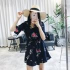 Printed Flounced Elbow-sleeve Chiffon Playsuit