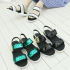 Glossy-strap Sandals