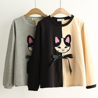 Cat Embroidered Color Panel Pullover