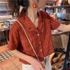Short-sleeve Plaid Shirt Tangerine Red - One Size