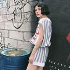 Set: Sleeveless Striped Back Top + Shorts