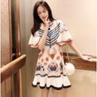 Elbow-sleeve Ruffled Print A-line Chiffon Dress