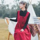 Plain Corduroy Sleeveless Midi Dress