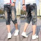 Distressed Washed Capri Jeans