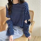 Cutout Striped T-shirt