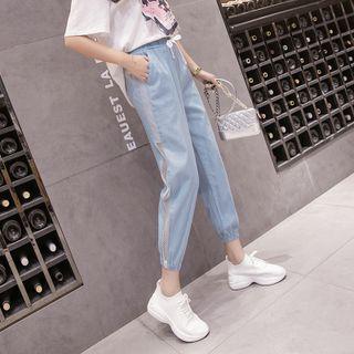 Mesh Panel Harem Jeans