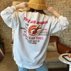 Lettering Print Oversized Fleece-lined Sweatshirt