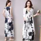Printed Sleeveless Maxi Dress / Plain Long Cardigan