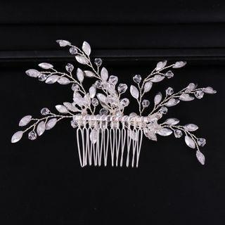 Bridal Rhinestone Hair Comb Clip White - One Size