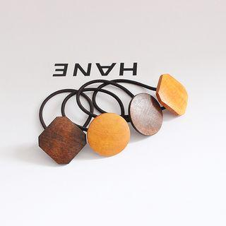 Wooden Square / Disc Hair Tie