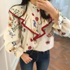 Floral Print Ruffle Trim Shirt