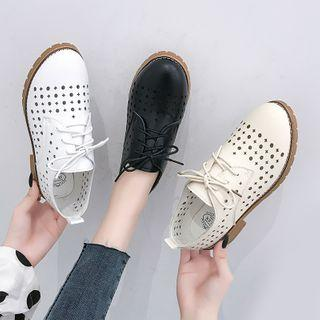 Perforated Lace-up Oxford Shoes