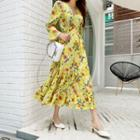 Floral Tiered Maxi Wrap Dress Yellow - One Size