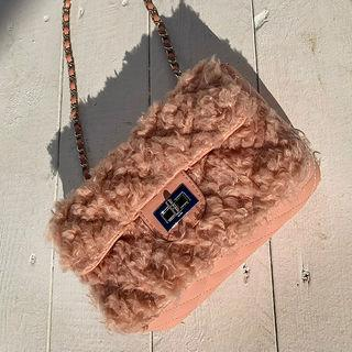 Twist-lock Faux-fur Quilted Crossbody Bag