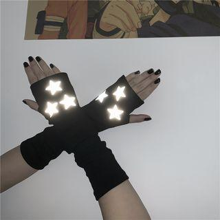 Star Print Fingerless Gloves Black - One Size