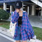 Two-tone Plaid Hooded Shirt