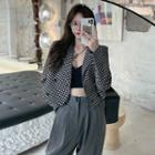 Lapel Collar Houndstooth Double-buttoned Blazer