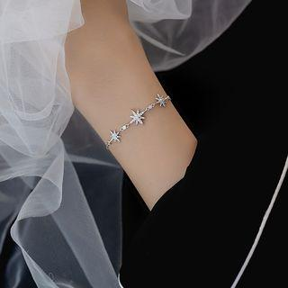 925 Sterling Silver Rhinestone Star Bracelet Silver - One Size