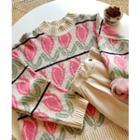 Drop-shoulder Floral Print Sweater