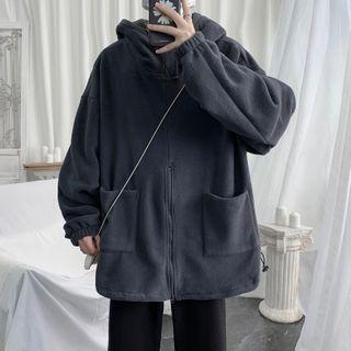 Plain Hooded Fleece Zip Jacket