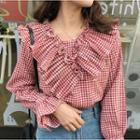 Ruffle Trim Checked Top