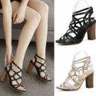 Cross Strap Chunky-heel Sandals