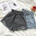 Roll Up Drawcord Denim Shorts