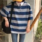 Striped Polo Shirt Stripe - Blue - One Size