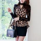 Leopard-print Blouse Brown - One Size