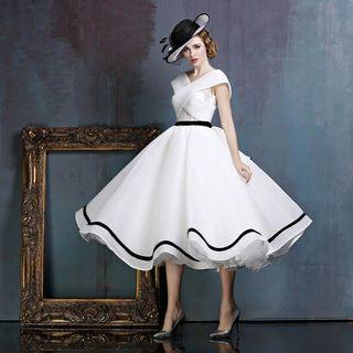 Contrast Trim Midi Prom Dress