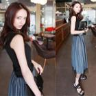 Mock Two-piece Sleeveless Tulle Dress