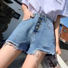 Frayed Buttoned Denim Shorts