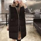 Furry Collar Padded Long Vest