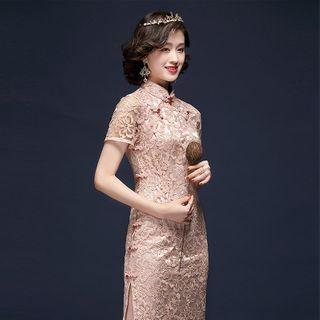 Short-sleeve Floral Lace Qipao