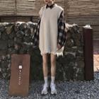 Set: Plaid Lantern-sleeve Shirt + Distressed Long Knit Vest