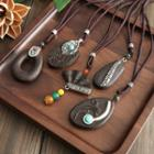 Metal Accent Wooden Necklace
